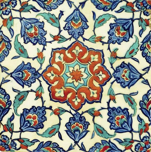 Seamless Painting - An Iznik Polychrome Tile, Turkey, Circa 1580, By Adam Asar, No 18a by Adam Asar