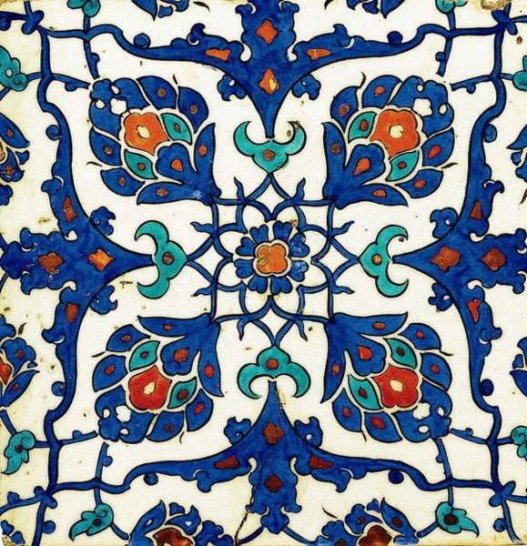 Seamless Painting - An Iznik Polychrome Tile, Turkey, Circa 1585, By Adam Asar, No 26a by Adam Asar