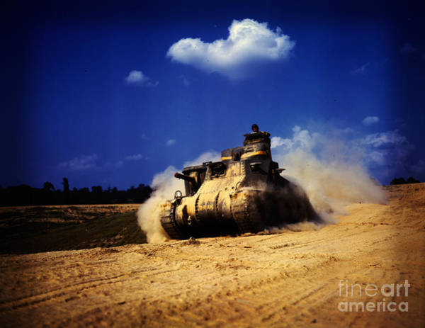 Painting - An M-3 Tank In Action by Celestial Images
