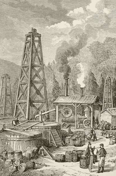 Oil Derrick Drawing - An Oil Well In Nineteenth Century by Vintage Design Pics