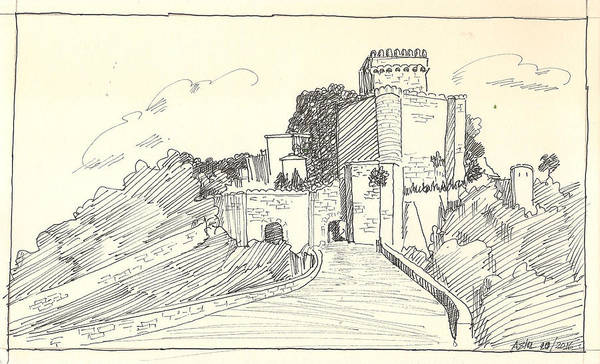 Drawing - An Old Castle by Asha Sudhaker Shenoy