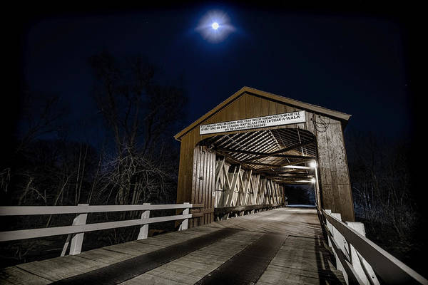 Photograph - An Old Covered Bridge In Moonlight by Sven Brogren
