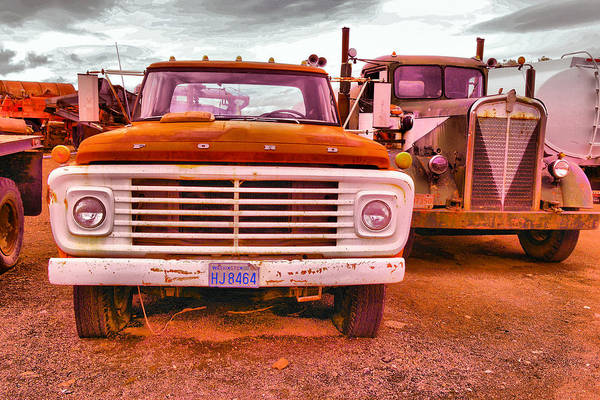Semi Truck Photograph - An Old Ford And Kenworth by Jeff Swan