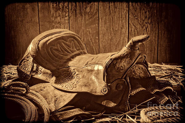 Photograph - An Old Saddle by American West Legend By Olivier Le Queinec