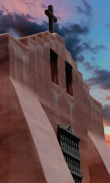 Wall Art - Photograph - An Old Stucco Church And Wooden Cross At Twilight by Derrick Neill