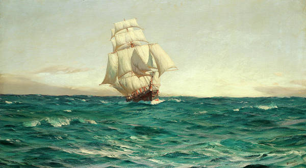 Cruiser Painting - An Old Time Cruiser by Thomas Jacques Somerscales