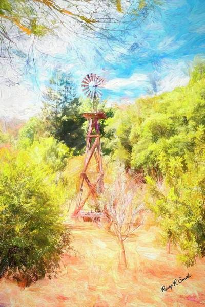 Digital Art - An Old Wooden Windmill. by Rusty R Smith