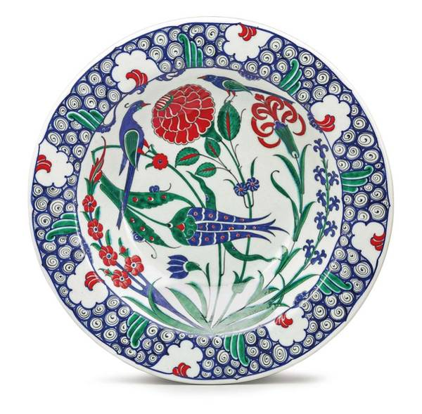 Potters Wheel Wall Art - Painting - An Ottoman Iznik Style Floral Design Pottery Polychrome, By Adam Asar, No 1 by Adam Asar