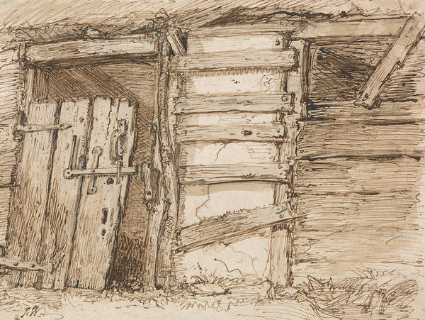 Wall Art - Drawing - An Outhouse Wall by James Ward