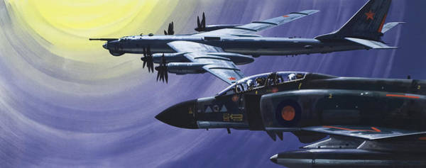 Wall Art - Painting - An Raf Phantom Of Strike Command Pulls In Close To A Russian Tupolev Tu95d  by Wilf Hardy