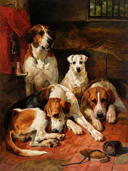 Unexpected Painting - An Unexpected Visitor - Hounds And A Terrier In A Kennel by John Emms