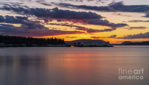 Wall Art - Photograph - Anacortes Ferry Dock Sunset Gateway To The San Juan Islands by Mike Reid