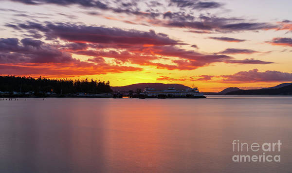 Wall Art - Photograph - Anacortes Ferry Dock Sunset Smooth Reflections by Mike Reid