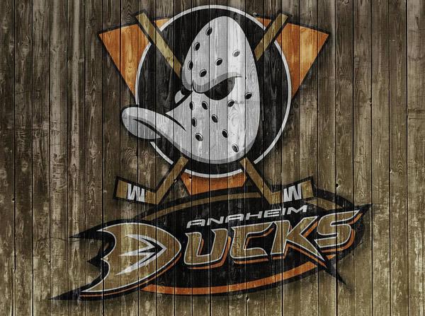 Wall Art - Mixed Media - Anaheim Ducks Barn Door by Dan Sproul
