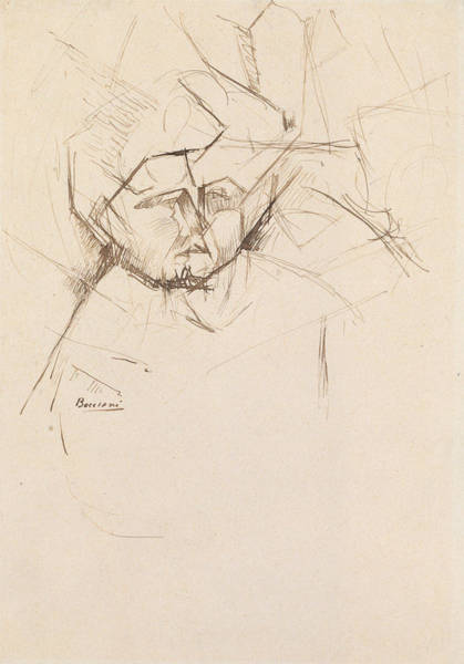 Drawing - Analytical Study Of A Woman's Head Against Buildings by Umberto Boccioni