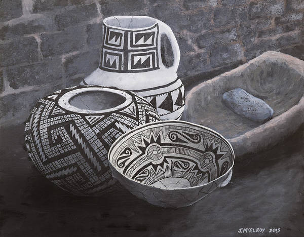 Pueblo Painting - Anasazi Black On White by Jerry McElroy
