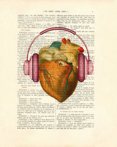 Organ Digital Art - Anatomical Heart And Headphonesin Color  by Madame Memento