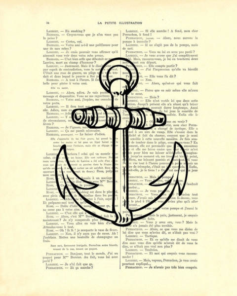 Black And White Digital Art - Anchor Black Lines Old School Illustration by Madame Memento