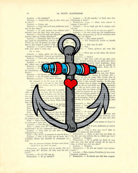 Boats Digital Art - Anchor Tattoo Heart Color  by Madame Memento