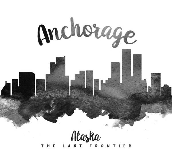 Wall Art - Painting - Anchorage Alaska Skyline 18 by Aged Pixel