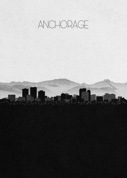 Wall Art - Digital Art - Anchorage Cityscape Art by Inspirowl Design