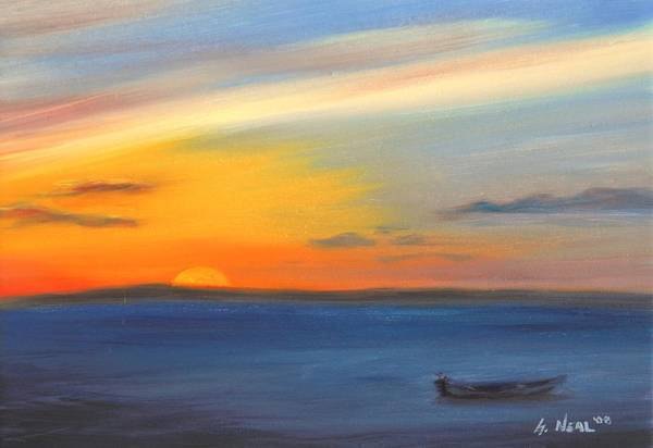 Painting - Anchored At Sunset by Greg Neal