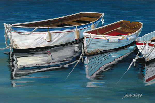 Fishing Boat Painting - Anchored Reflections II by Sharon Kearns