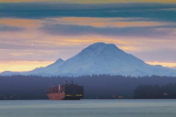 Photograph - Anchored Under Mt. Rainier by E Faithe Lester
