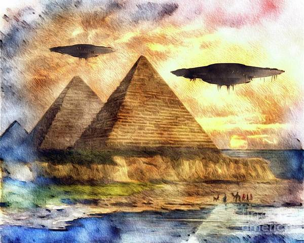 Area Painting - Ancient Aliens And Ancient Egypt by Raphael Terra