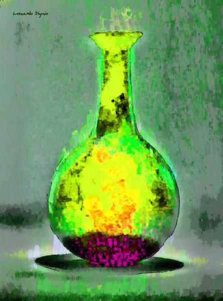 Cellar Digital Art - Ancient Bottle Yellow - Da by Leonardo Digenio