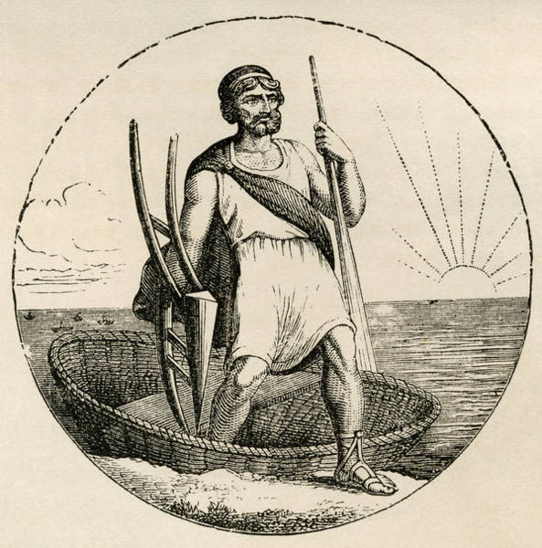 Briton Wall Art - Drawing - Ancient Briton With Coracle And Plow by Vintage Design Pics