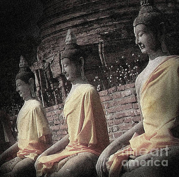 Photograph - Ancient Buddha Statues by Eena Bo