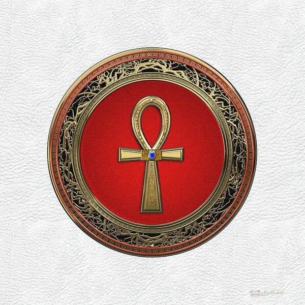 Digital Art - Ancient Egyptian Ankh - Sacred Golden Cross Over White Leather by Serge Averbukh