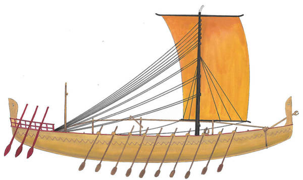 Wall Art - Painting - Ancient Empire Trade Ship by The Collectioner