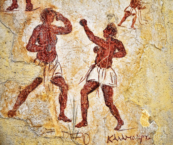 Photograph - Ancient Greek Graffitti Of Boxers by Brenda Kean