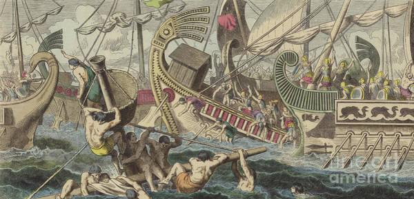 Wall Art - Painting - Ancient Greek Sea Battle by German School