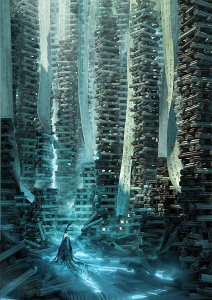 Sci-fi Digital Art - Ancient Library V1 by Te Hu