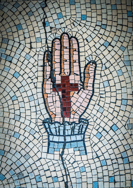 Wall Art - Photograph - Ancient Mosaic Of A Hand And Cross by Mr Doomits