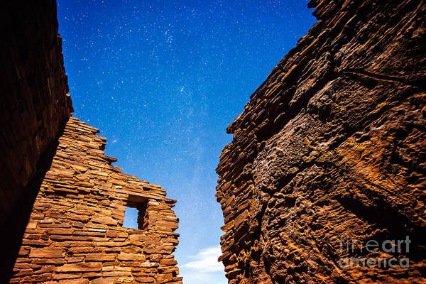 Photograph - Ancient Native American Pueblo Ruins And Stars At Night by Bryan Mullennix