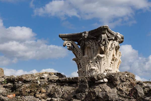 Photograph - Ancient Pompeii Broken Treasures - Classical Corinthian Column Capital Right by Georgia Mizuleva