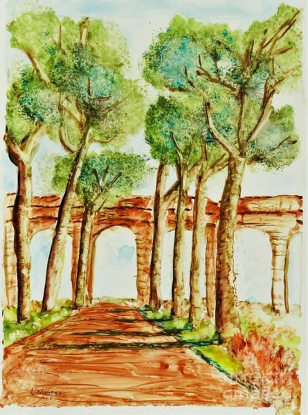 Painting - Ancient Roman Aqueduct by Laurie Morgan