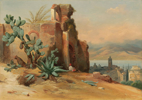 Painting - Ancient Ruins Near Messina, Sicily by Jean-Charles-Joseph Remond
