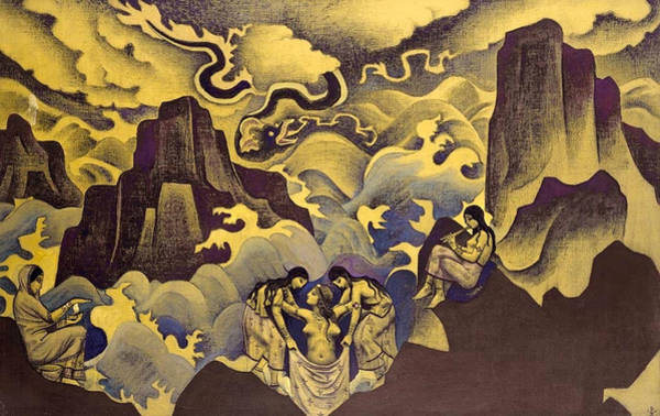 Metaphor Painting - Ancient Serpent, Serpent Of Wisdom by Nicholas Roerich