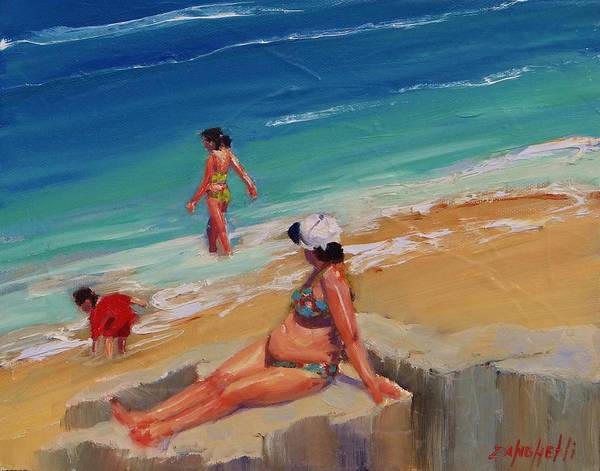 Coast Line Painting - And Baby Makes Three by Laura Lee Zanghetti