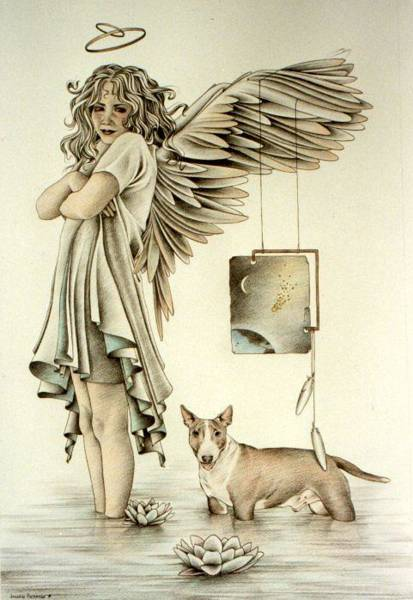 Drawing - And Dogs And Angels Follow Right Behind by Johanna Pieterman
