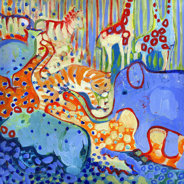 Giraffe Painting - And Elephant Enters The Room by Jennifer Lommers