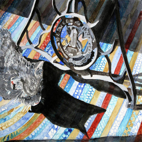 Painting - And The Cat Sneaks In by Sandy McIntire