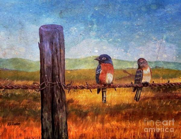 Fencepost Painting - And The Conversation On A Fencepost Continues by Kimberlee Baxter