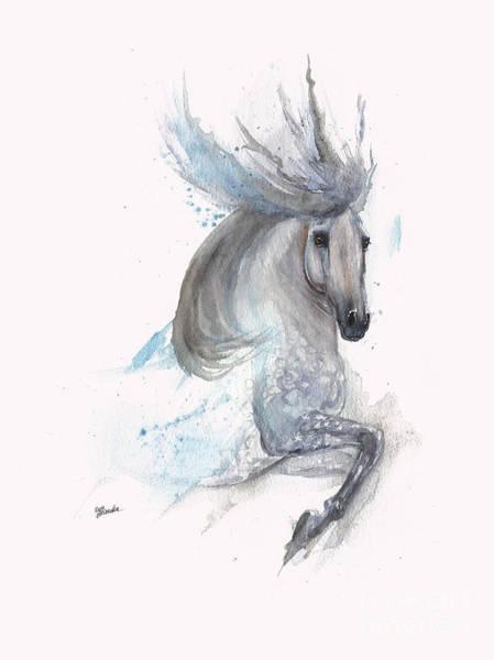 Wall Art - Painting - Andalusian Horse Painting 2014 03 30 by Angel Ciesniarska