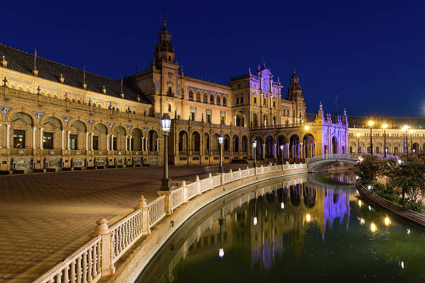Photograph - Andalusian Night Magic - The Magnificent Plaza De Espana In Seville Spain by Georgia Mizuleva
